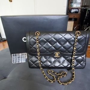 CHANEL Paris Limited Black Lambskin Double Flap